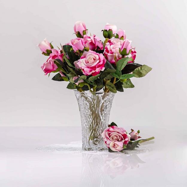 Umělá sametová růže VANESA růžově-cyklámenová. Cena uvedena za 1 kus.