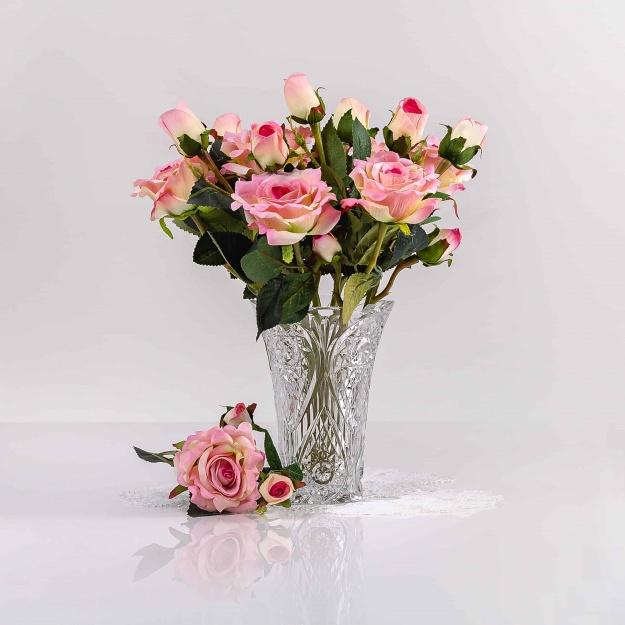Selyem rózsa VANESZA világos rózsaszín. Ár/darab.