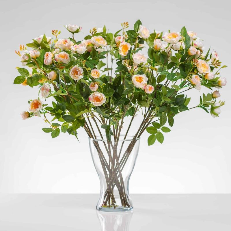 Umělá hedvábná růže LAURA jemně- růžová. Cena uvedena za 1 kus