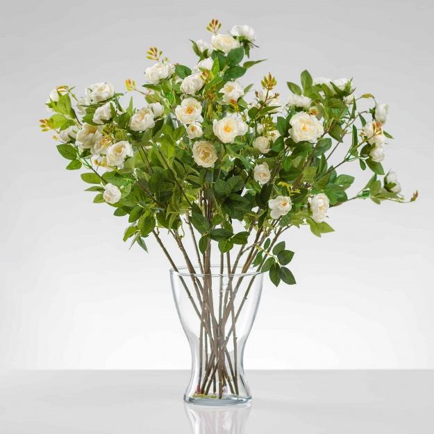 Umělá hedvábná růže LAURA krémová. Cena uvedena za 1 kus.