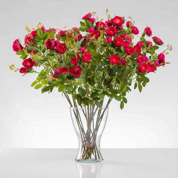Umělá hedvábná růže LAURA cyklámenová. Cena uvedena za 1 ks.