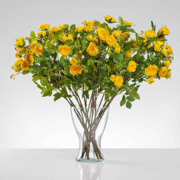 Umelá hodvábna ruža LAURA žltá. Cena uvedená za 1 kus.