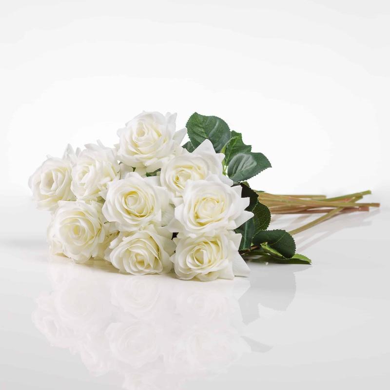 Umělá růže Růžena bílá. Cena uvedena za 1 kus.