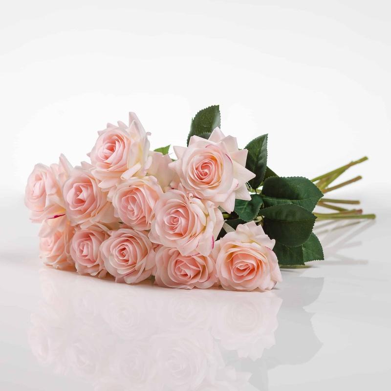 Selyem rózsa RUZSENA halvány rózsaszín. Ár/darab.