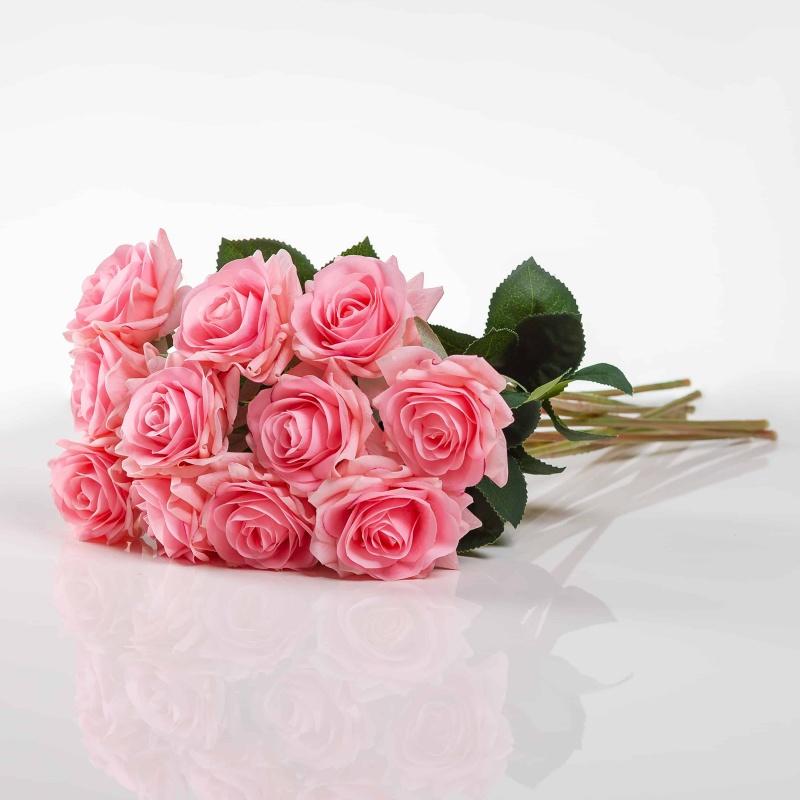 Umelá ruža RUŽENA ružová. Cena uvedená za 1 kus.