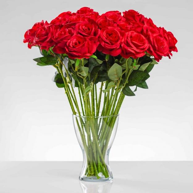 Umělá růže SIMONA červená. Cena uvedena za 1 kus.