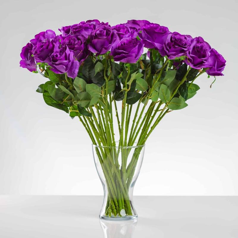 Umělá růže SIMONA fialová. Cena uvedena za 1 kus.