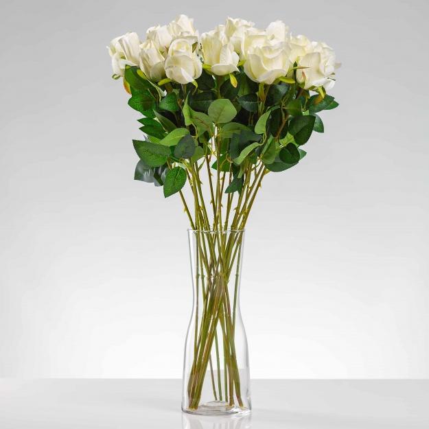 Umelá ruža ERIKA biela. Cena uvedená za 1 kus.