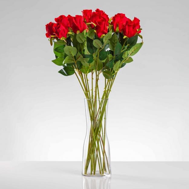 Umělá růže ERIKA červená. Cena uvedena za 1 kus.