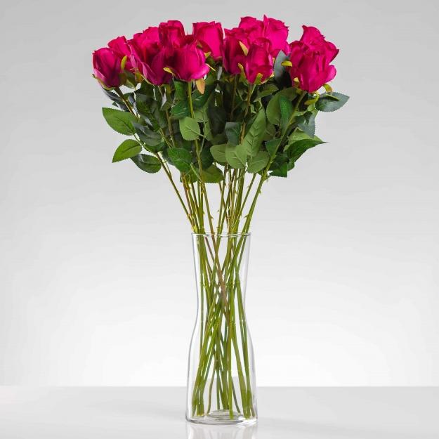 Umělá růže ERIKA cyklámenová. Cena uvedena za 1 kus.