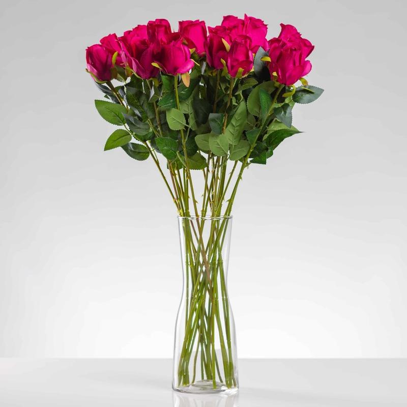 Umelá ruža ERIKA cyklámenová. Cena uvedená za 1 kus.