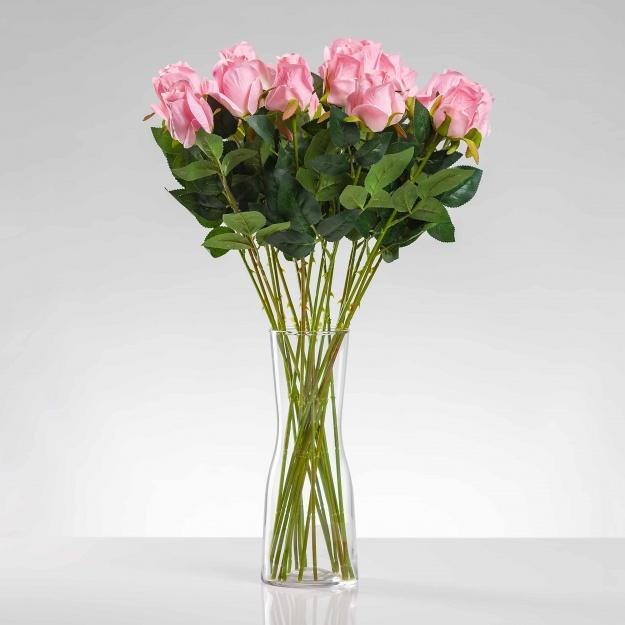 Umělá růže ERIKA růžová. Cena uvedena za 1 kus.
