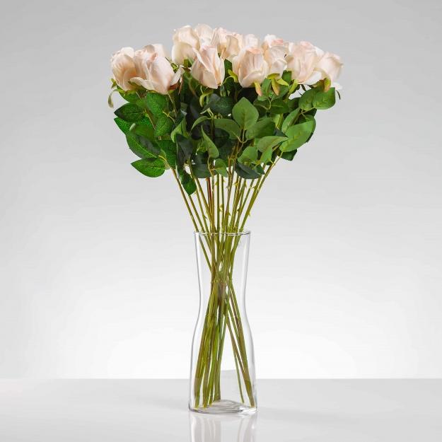 Umělá růže ERIKA šampaňská. Cena uvedena za 1 kus.