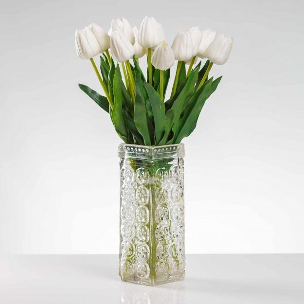 Umelý tulipán BEATA krémovo-biely. Cena uvedená za 1 kus.