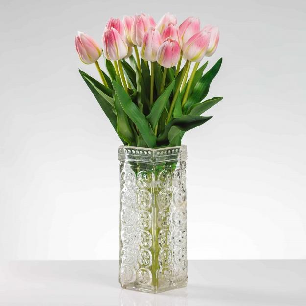 Selyem tulipán BEÁTA fehér-rózsaszín. Ár/darab.