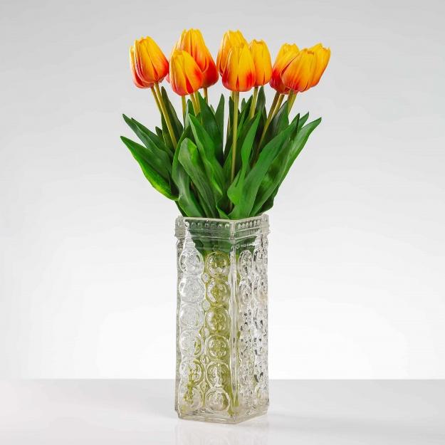 Umělý tulipán BEATA oranžový. Cena uvedena za 1 kus.
