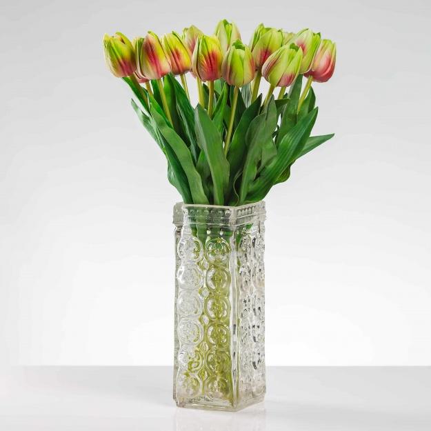 Umělý tulipán BEATA červeně-zelený. Cena uvedena za 1 kus.