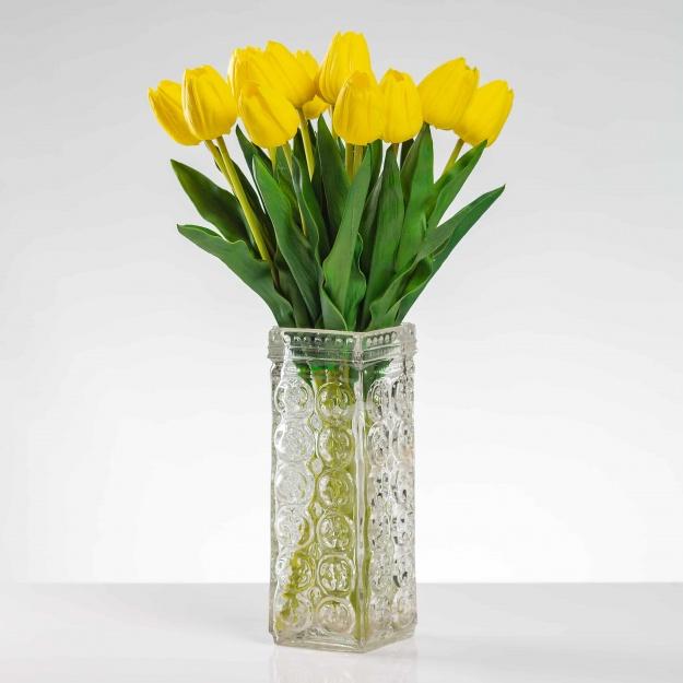 Umělý tulipán BEATA žlutý. Cena uvedena za 1 kus.