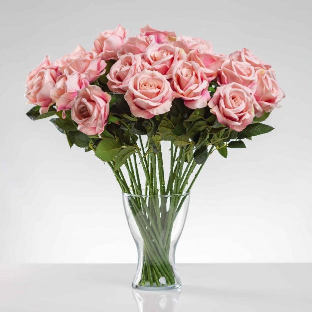 Umělá sametová růže Žaneta šampaňská. Cena uvedena za 1 kus.