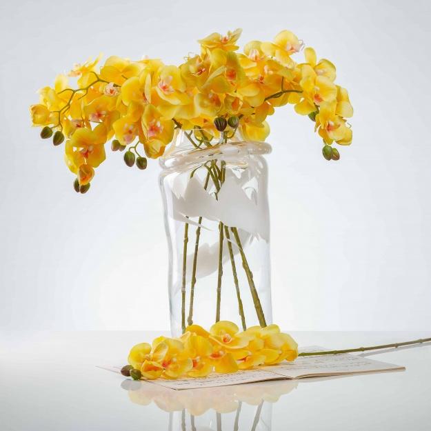 Umělá orchidea NATÁLIE žlutá. Cena uvedena za 1 kus.