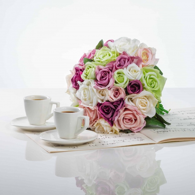 The Elegant Bouquet From Silk Roses VERA