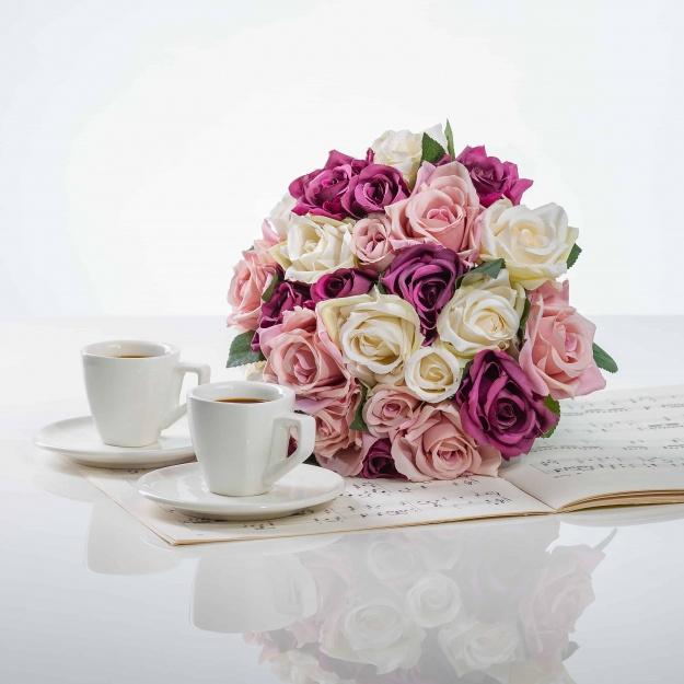 Elegant Bouquet From Silk Roses VERA