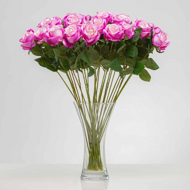 Umělá sametová růže ANNA fialově - růžová. Cena uvedena za 1 kus.