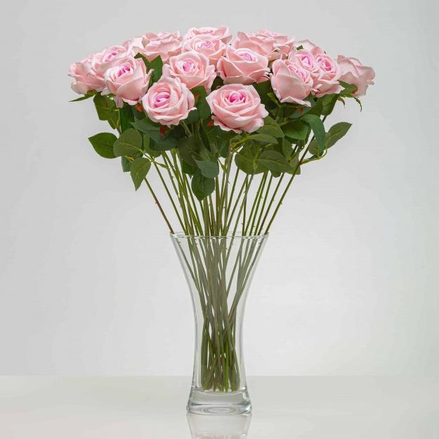 Umělá sametová růže ANNA růžová. Cena uvedena za 1 kus.