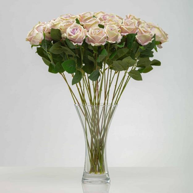 Umělá sametová růže ANNA šampaňsko - fialová. Cena uvedena za 1 kus.
