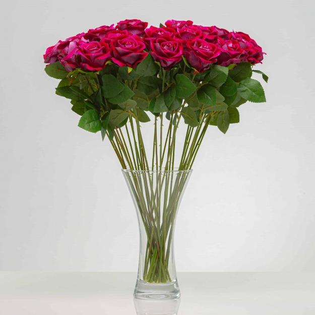 Umělá sametová růže ANNA cyklámenová. Cena uvedena za 1 kus.