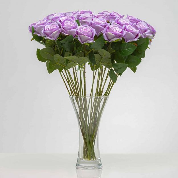 Umělá sametová růže ANNA fialová. Cena uvedena za 1 kus.