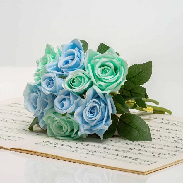 Selyem rózsacsokor TERÉZIA türkizkék.
