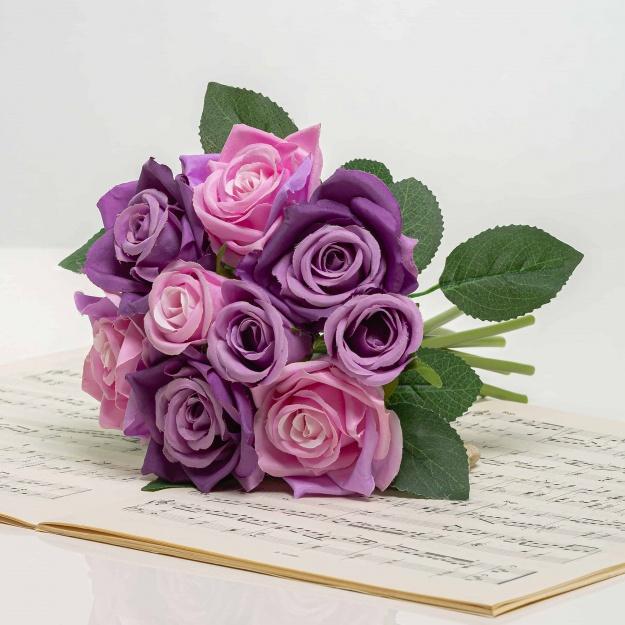 Umelá kytička ruží TERÉZIA fialovo-fialová