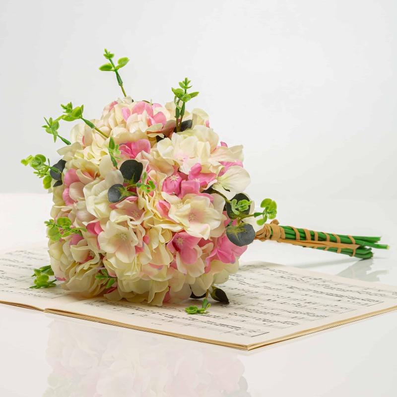 Kytička z hortenzií KRISTÝNA bielo-ružová