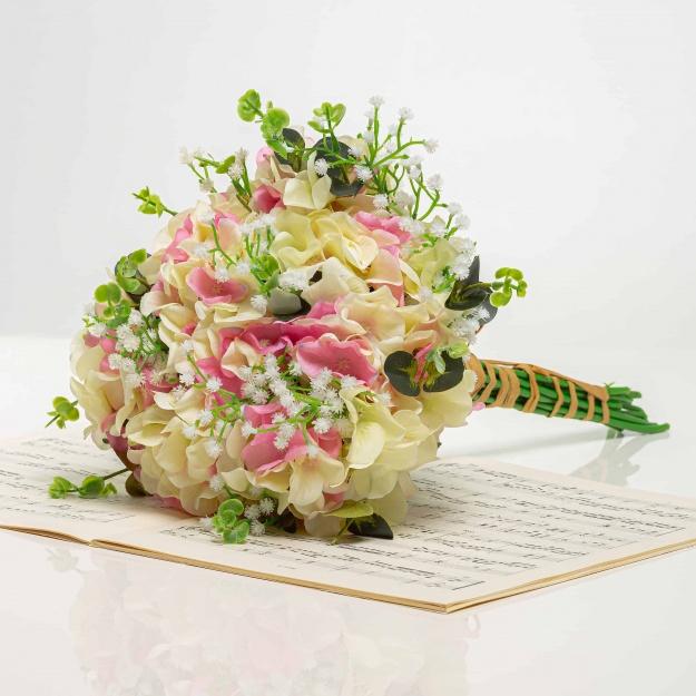 Kytička z hortenzií LÍVIA bielo-ružová