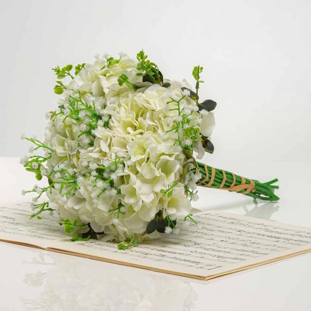 Csokor hortenziábol LÍVIA fehér-zöld