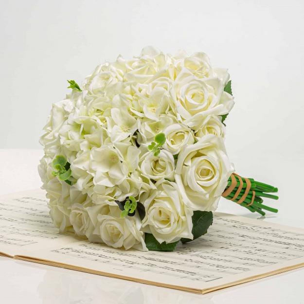 Kytička z hortenzií a ruží STELA bielo-zelená