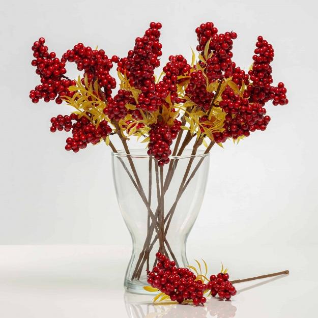Větvička s bobulemi LARISA červená. Cena uvedena za 1 kus.
