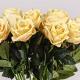 Umelá zamatová ruža ŽANETA žltá. Cena uvedená za 1 kus.