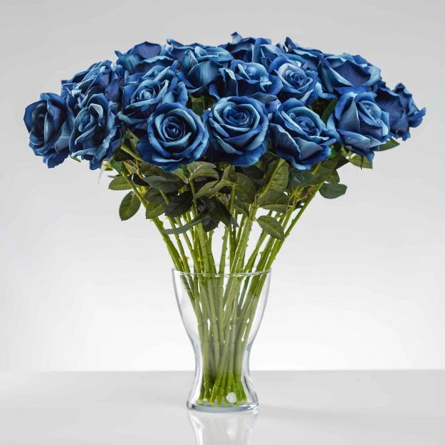Umelá zamatová ruža ŽANETA modrá. Cena uvedená za 1 kus.