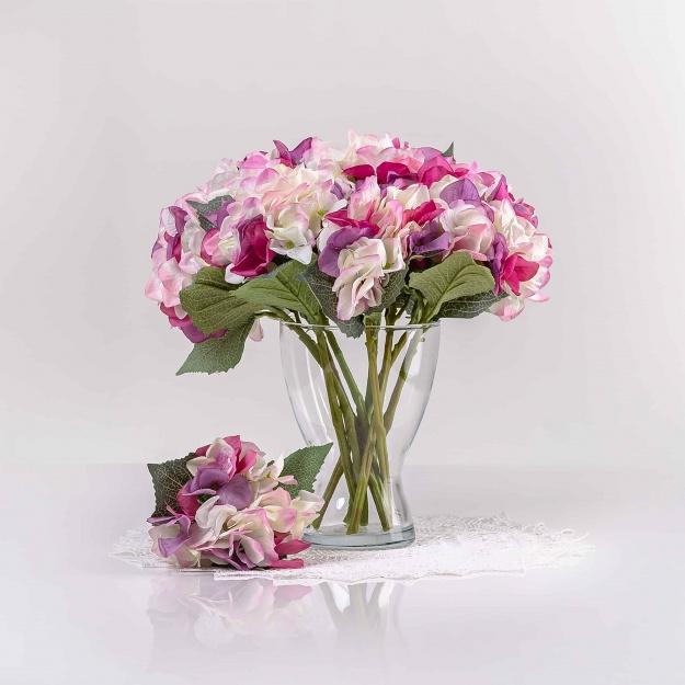 Umelá hortenzia ZUZANA bielo-fialová. Cena uvedená za ks