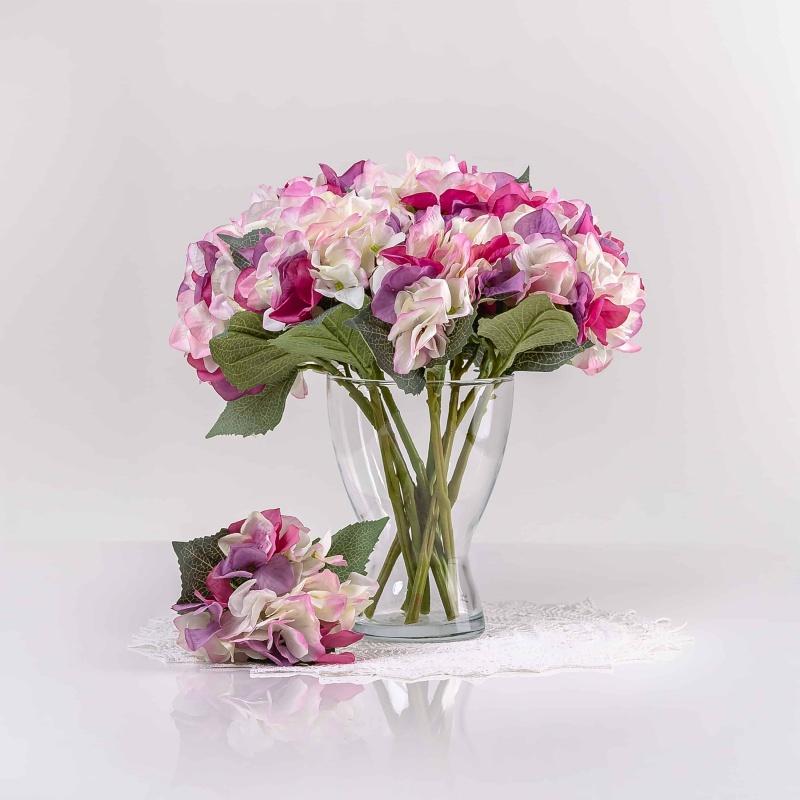 Umělá hortenzie ZUZANA bílo-fialová. Cena uvedena za 1 kus.