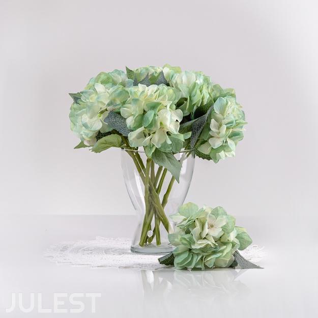 Umelá hortenzia ZUZANA bielo-modrá. Cena uvedená za 1 kus.