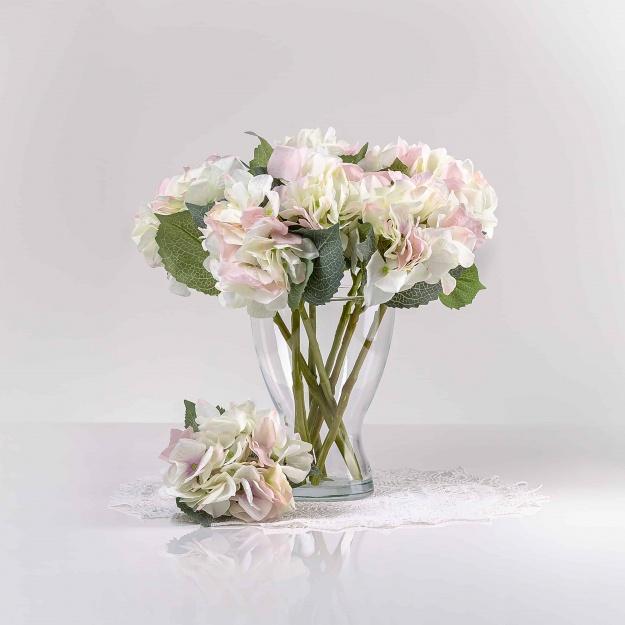 Umělá hortenzie ZUZANA bílo-růžová. Cena uvedena za 1 kus.