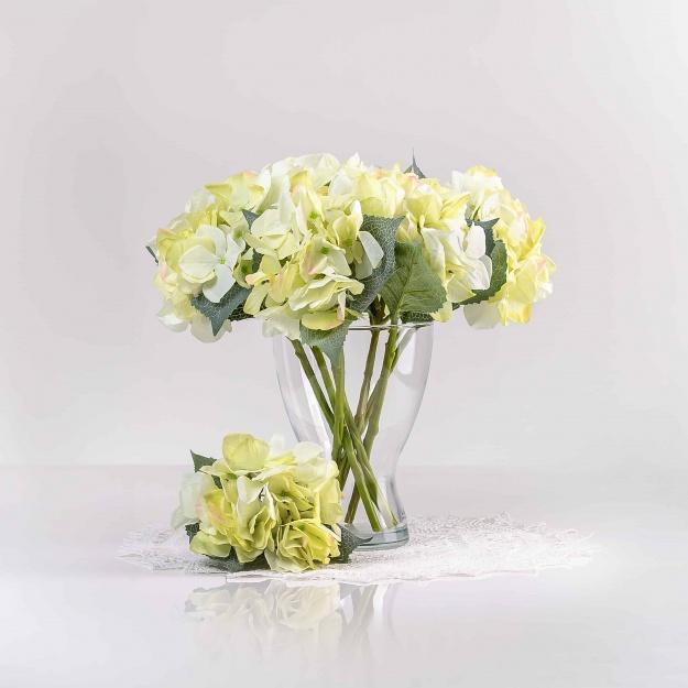 Umelá hortenzia ZUZANA svetlo-zelená. Cena uvedená za 1 kus