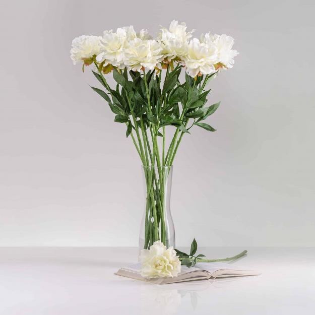 Selyem pünkösdirózsa (peonia) SZONYA fehér. Ár/darab.