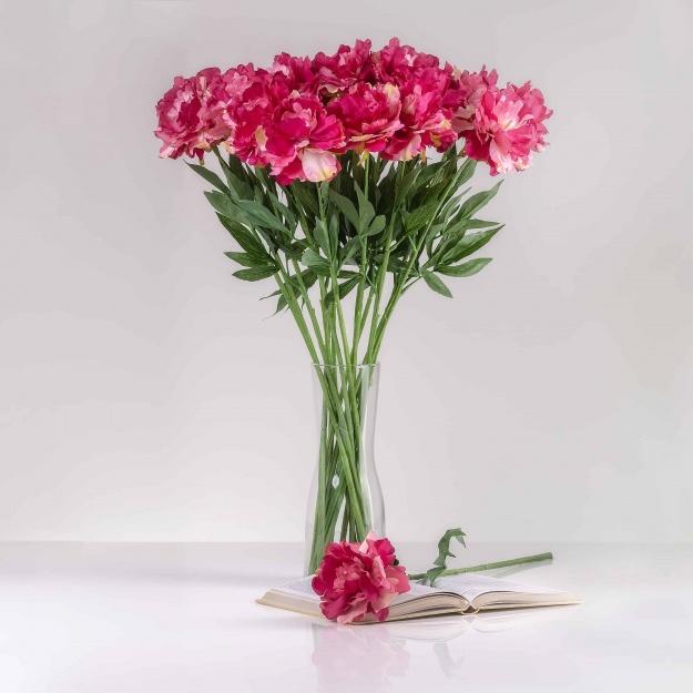 Umelá pivónia SOŇA ružovo-cyklámenová. Cena uvedená za 1 kus.