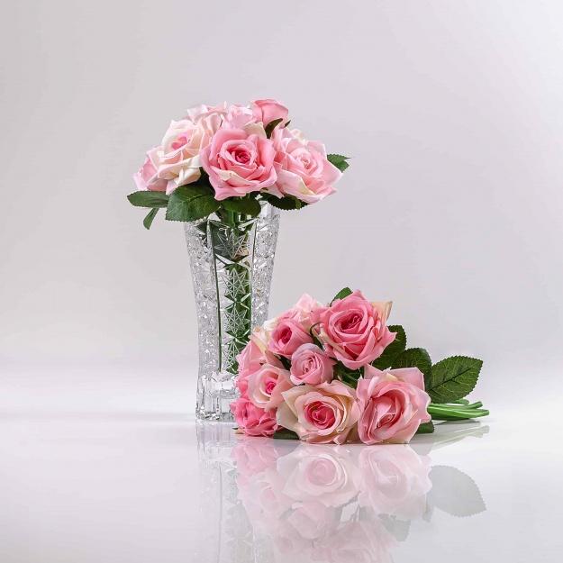 Umelá kytička ruží TERÉZIA bielo-ružová