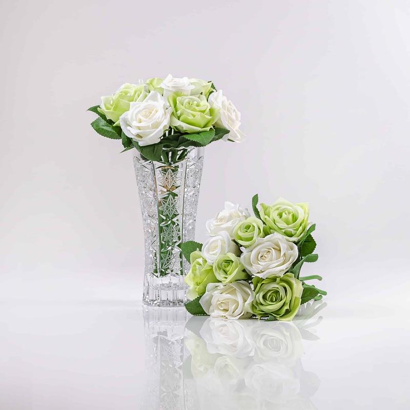 Umelá kytička ruží TERÉZIA bielo-zelená