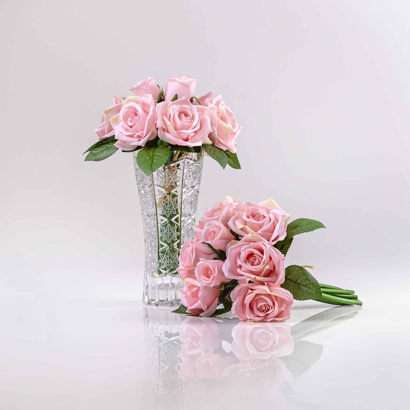 Hedvábná umělá kytička z růží TEREZIE růžová